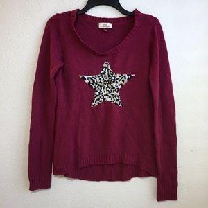 L.e.i Animal Print Star Knit Sweater Top